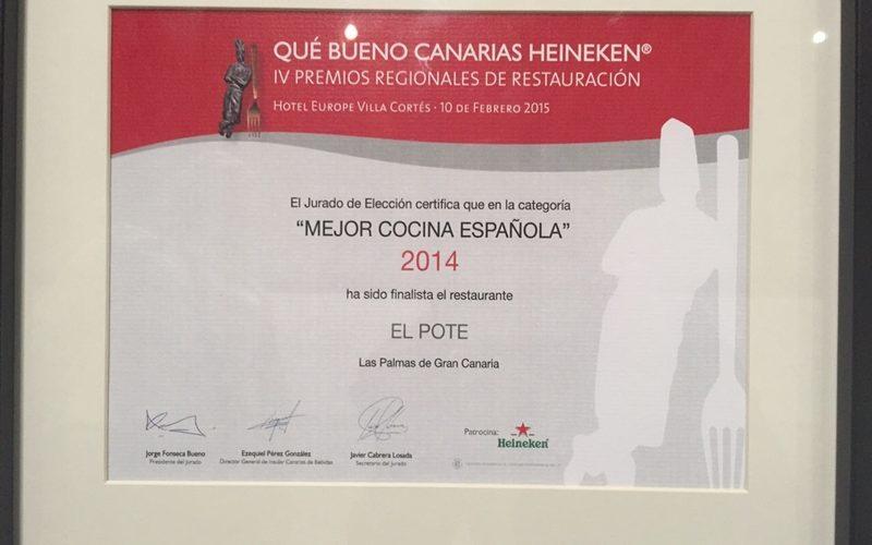 El premio que nos certifica como finalistas a la mejor cocina española
