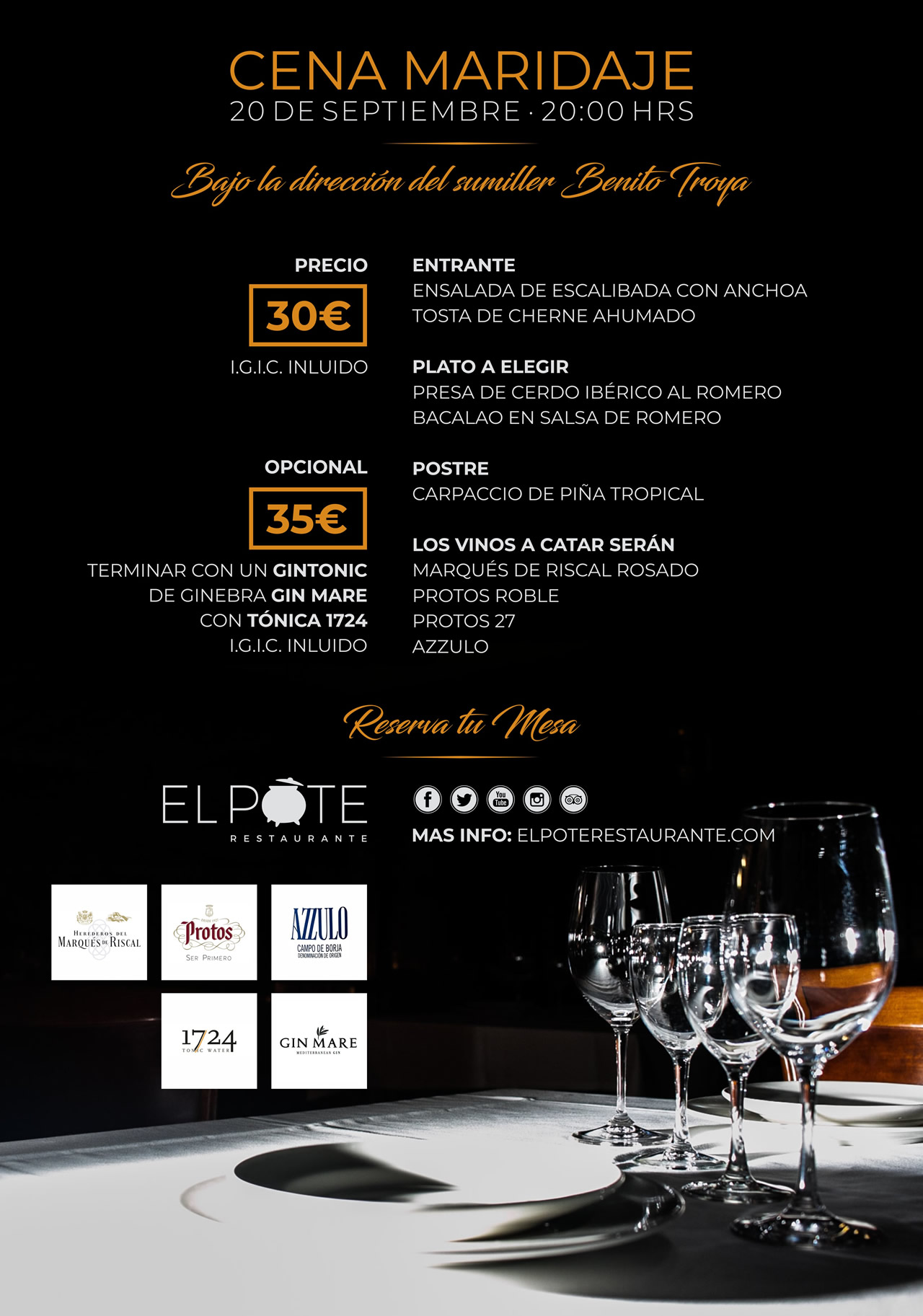 El Pote Restaurante Cena Maridaje 20-09-2018